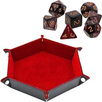 Bandeja para Dados de Doble Cara Hexagonal de Piel sintética Plegable para Guardar Dardos, Juegos de Mesa, Llaves, Monedas, bandejas, escritorios, Color Rojo: Amazon.es: Juguetes y juegos