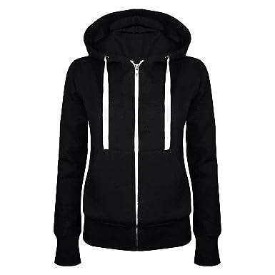 Kebinai Women Hoodie Sweatshirt Hooded Top Coat Pullover Zipper Jacket Solid  Color Hoodies BlackSmall 48afcbf1f