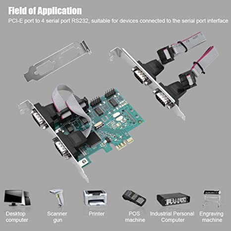 PCI Express Controller Adapter Expansion Card Bewinner PCIe Adapter 4-Port RS232 Serial Port Card 4 Independent 9-pin Standard Serial Ports for Windows7//8//10//LINUX