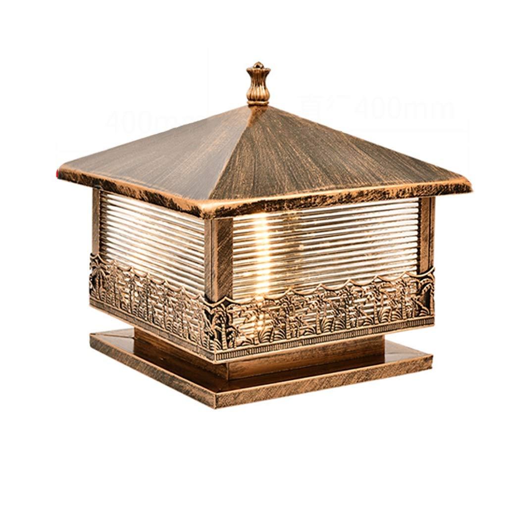 パスライトポールライト コラムヘッドランプガーデン屋外E27ランプ防水コラムランプヨーロッパ屋外コラムヘッド曇りガラスステンレス鋼 (Color : Gold, Size : 40*36cm) B07NYZZHWZ Gold 40*36cm
