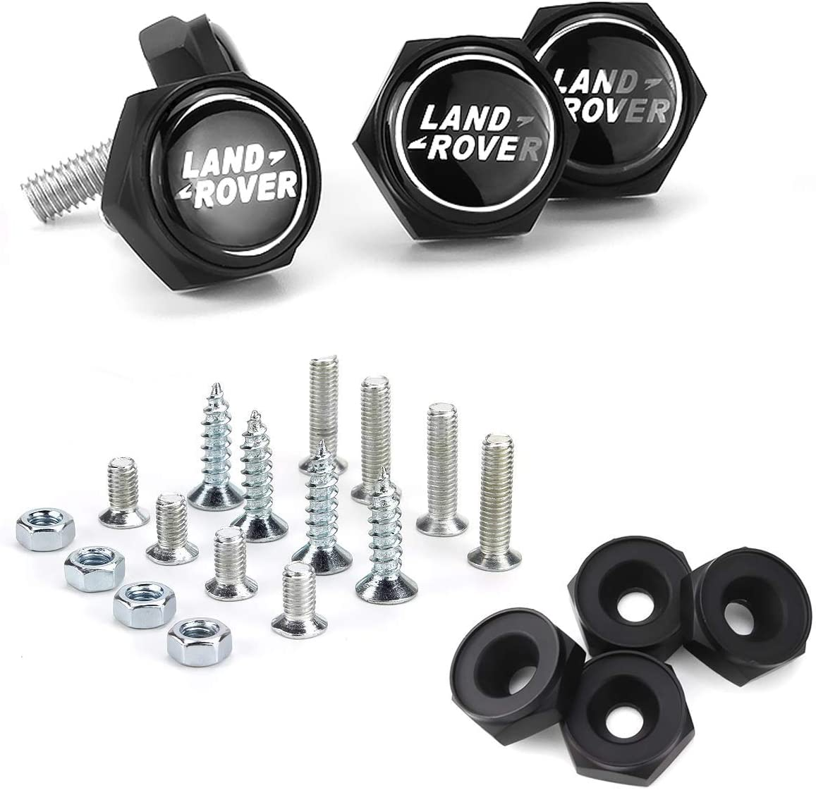 Land Rover Logo Cap Cover Metal Screw Bolts Nuts Anti-Theft Universal Car Truck Accessories fits for Land Rover Black, Black Nuts Bettway 4pcs//Set Car License Plate Frame Screw Bolts