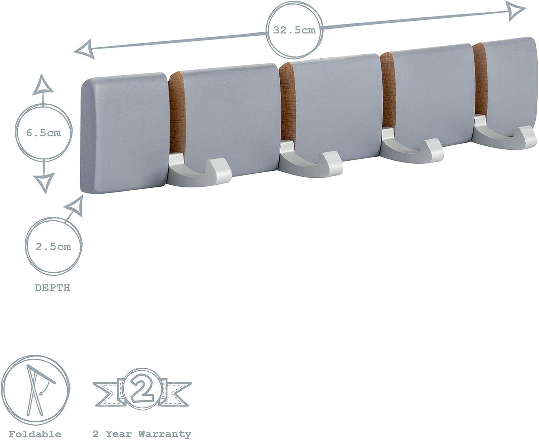 Ideale per Cappotti 4 Ganci in Metallo a Scomparsa Nero 2 Pezzi Harbour Housewares Appendiabiti da Parete in Legno