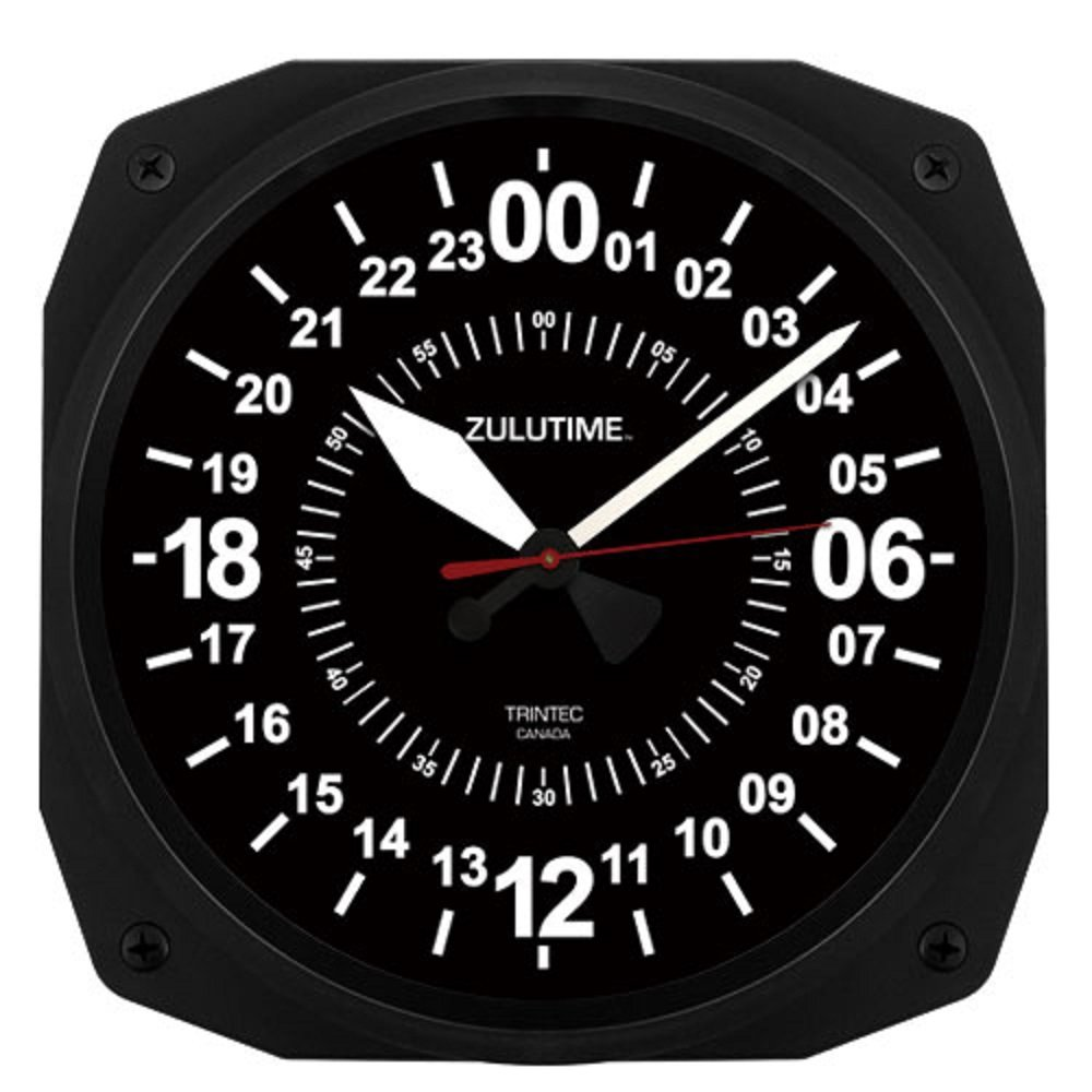 "Trintec 24 Hour Square Military Time SWL Zulu Time 24Hr Wall Clock 10"" Black Dial Ham Shack"
