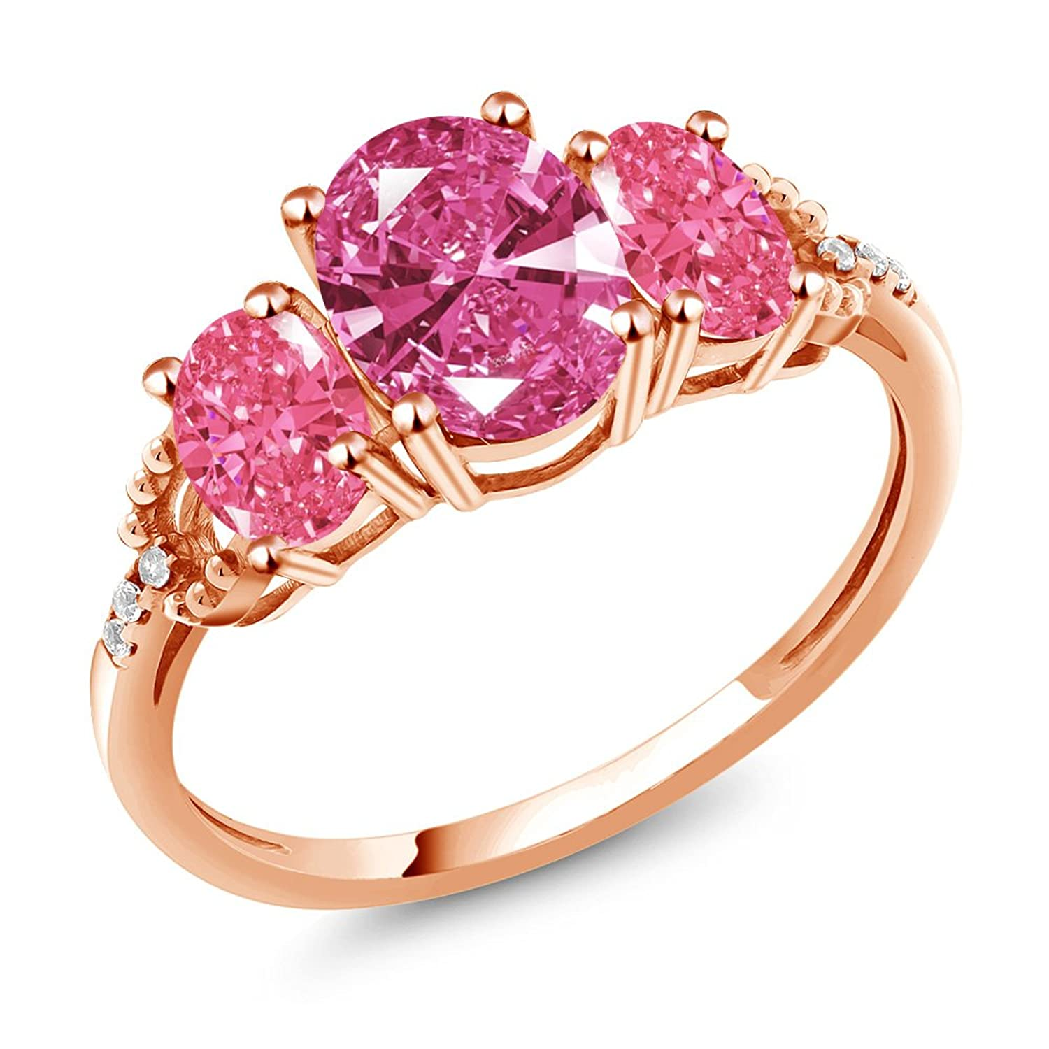 Amazon.com: 10K Rose Gold 3-Stone Diamond Accent Ring Set with Pink ...