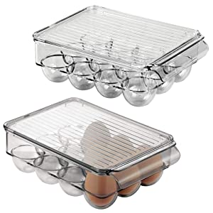 mDesign Stackable Plastic Covered Egg Tray Holder, Storage Container and Organizer for Refrigerator, Carrier Bin with Lid with Handle - Holds 12 Eggs - 2 Pack - Smoke Gray