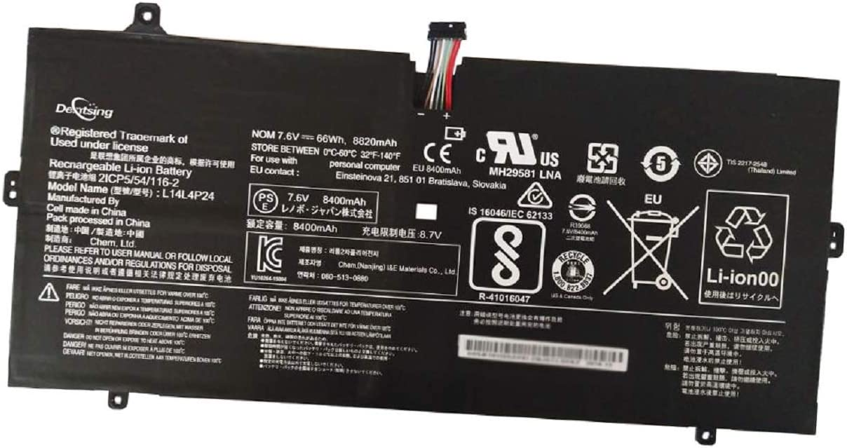 Dentsing L14L4P24 (7.6V 66Wh/8400mAh 4-Cells) Laptop Battery Compatible with Lenovo YOGA 900-13ISK 900-13ISK2 900-IFI 900-ISE YOGA 4 Pro Series Notebook 5B10H43261 L14M4P24