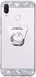 Ukayfe Custodia Compatibile con Huawei Nova 3i/P Smart Plus,Specchio Custodia con Orso Anello Supporto Lusso Brillante Diamante Ultra Sottile TPU Silicone Morbido Mirror Cover Protettiva-Argento