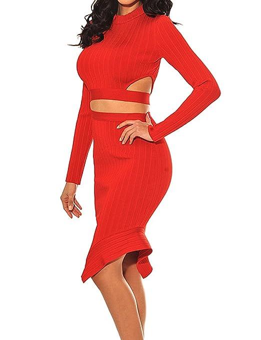 63a00d0778f94d Whoinshop Damen Langarm Kleider Bodycon Kleid Zweiteilig Figurbetontes  PartyKleid Cocktailkleid mit Schnüren Hülsen (XS, Rot): Amazon.de:  Bekleidung