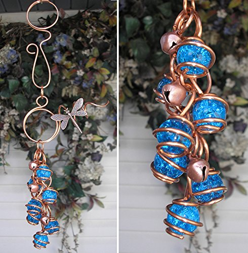 Dragonfly Wind Chimes Glass Copper Garden Art Lawn Ornament Windchime Aqua