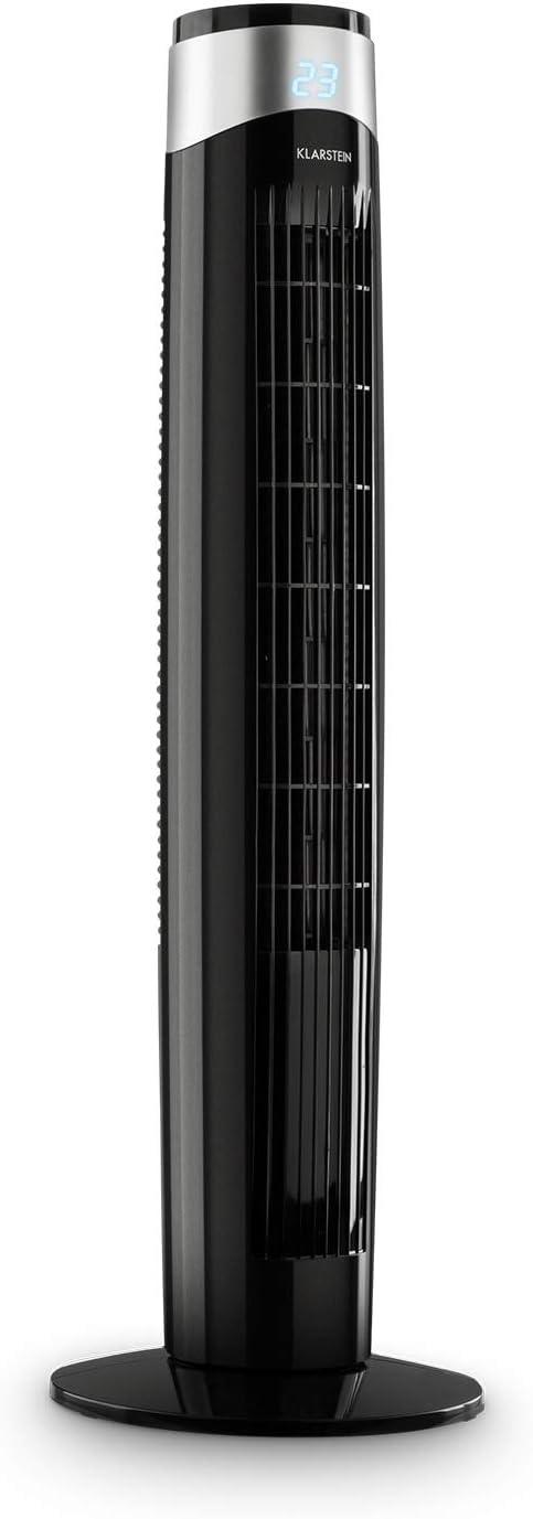KLARSTEIN Storm Tower - Ventilador de Columna, 6 velocidades, Oscilación Regulable de 80°, Pantalla LED, 55 Watt, Temporizador de 8 h, Empuñadura empotrada, Soporte Estable, Control Remoto, Negro