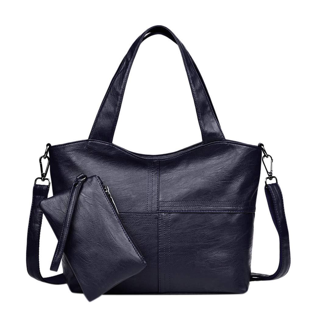 2Pcs Women's Ladies Pattern Print Pure Color Fashion Handbag+Wallets Blue by HunYUN