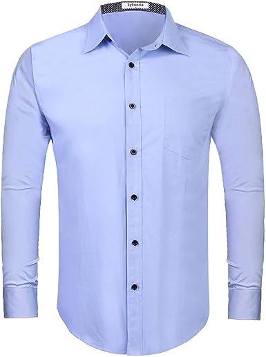 Sykooria Camisas clásicas para Hombre Blusas de Negocios de Manga Larga Camisas de Vestir básicas de Ajuste Regular con Bolsillo en el Pecho: Amazon.es: Ropa y accesorios