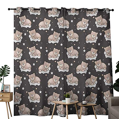NUOMANAN Room Darkening Wide Curtains Kids,Adorable Teddy Bears Sleeping on Clouds with Stars and Dots Night Time Dream,Dark Taupe Tan White,Light Blocking Drapes with Liner 84