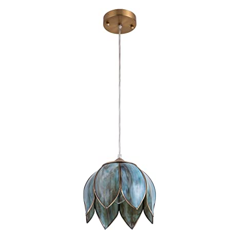 YIFI Vintage Lotus One Light Pendant Lighting In Bronze And Glass Oriental Mini Chandeliers Antique Brass