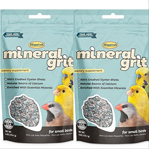 Higgins 2 Pack Mineral Grit Small Bird Calcium Supplement, 6-oz ea. with 100% Crushed Oyster Shells ()