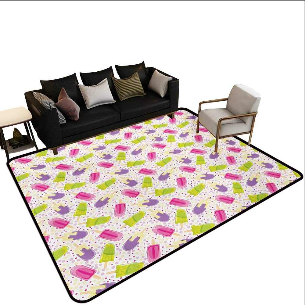 Household Decorative Floor mat,Popsicles in Cartoon Style Scattered on Polka Dot Background Yummy Fresh Frosting 6'6''x8',Can be Used for Floor Decoration
