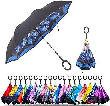 Wind Resistant Folding Automatic Umbrella Rain,Women Double Layer Inverted Umbrellas Frame Parasol UV Protection