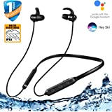 OHUMLABS Neckband Bluetooth Earphone Ver 5.0 Headset with Wireless Mic, Noise Cancellation and IPX4 Certified Water Resistance (Black)