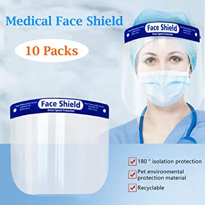 Hat with Face Shield Plastic Safety Face Shield 5/10/15/20 Packs, Reusable Lightweight Transparent Shield for Protection from Kitchen Oil Splash (10PCS)