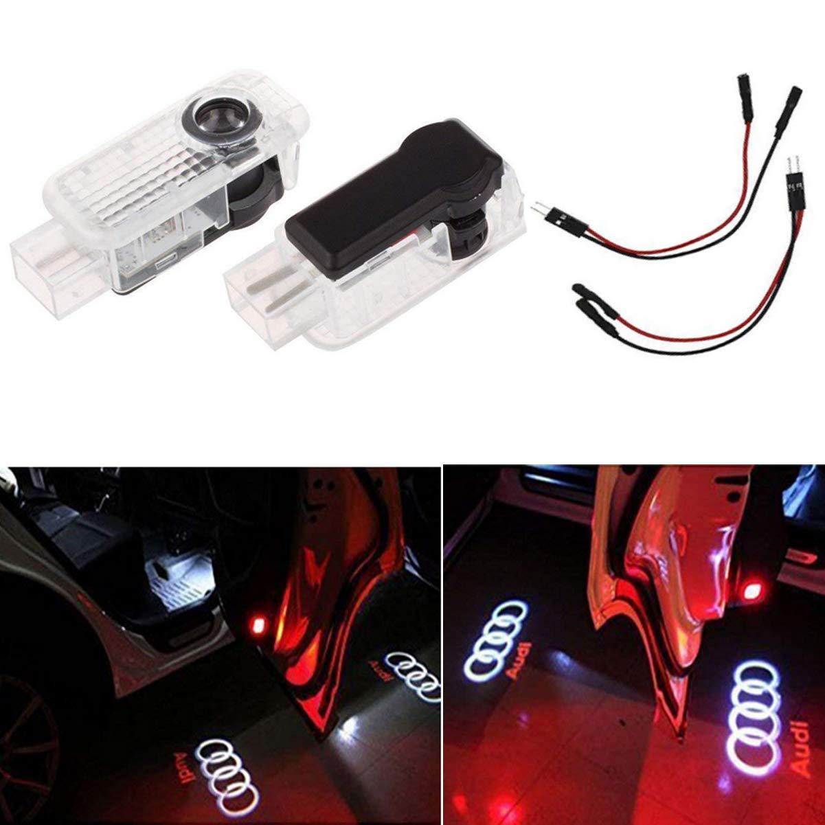 Liuer 2PCS Iluminació n de la entrada de la luz del coche LED 3D Luz de la lá mpara del logotipo del proyector de bienvenida Shadow Logo Projector Lights A1 A3 A4 A5 A6 A7 A8 Q3 Q5 Q8 TT