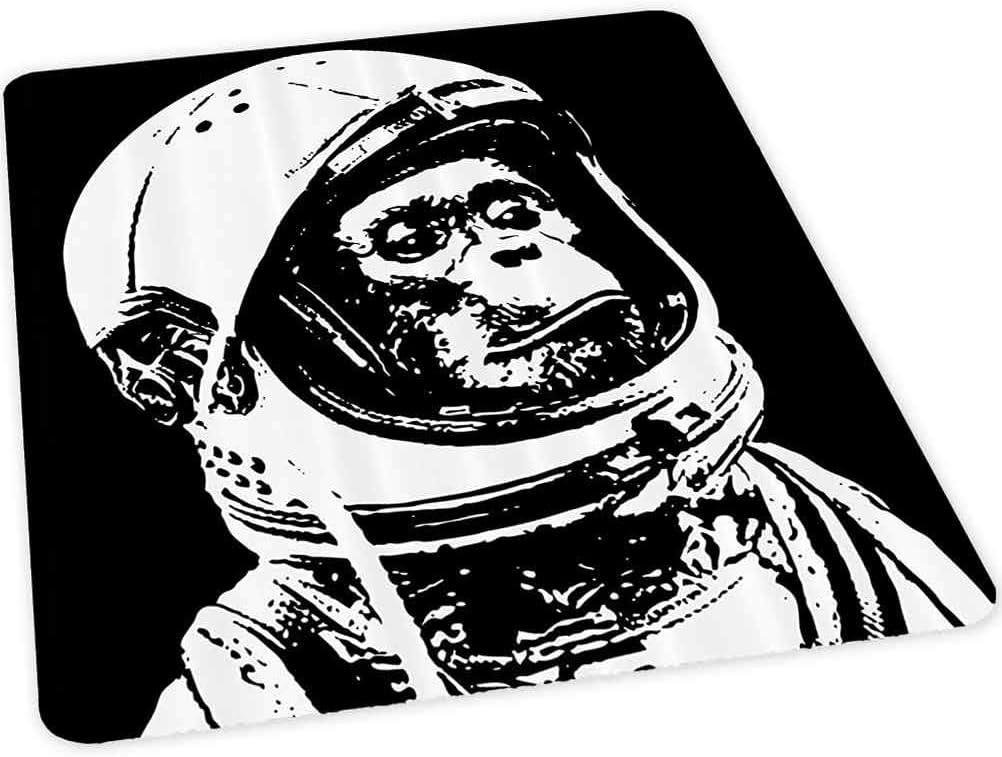 Alfombra para silla de piso duro, pequeño chimpancé en casco futurista Cosmos y Galaxy Discovery Image, 35 pulgadas x 47 pulgadas alfombra de oficina para alfombra