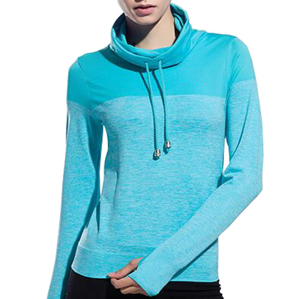 VOGUE CODE High Neck Quick Dry Running T-shirt High Elasticity Outwear Sweat Absorption T-shirt (M, blue) by VOGUE CODE