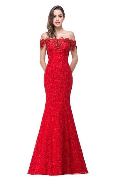 Babyonlinedress Vestido de novia de gala estilo sirena A line escote horizontal sin mangas espalda de