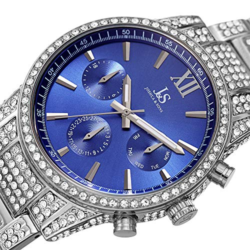 Joshua & Sons Crystal Studded Men's Watch - Silver Tone Stainless Steel Strap - Chronograph, 24 Hour, Day, Date - Blue Sunray Dial - ()