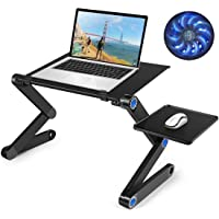Laptop Table, Adjustable Cooling Computer Bed Table with CPU Cooling Fan, Portable Lightweight Laptop Notebook Stand…