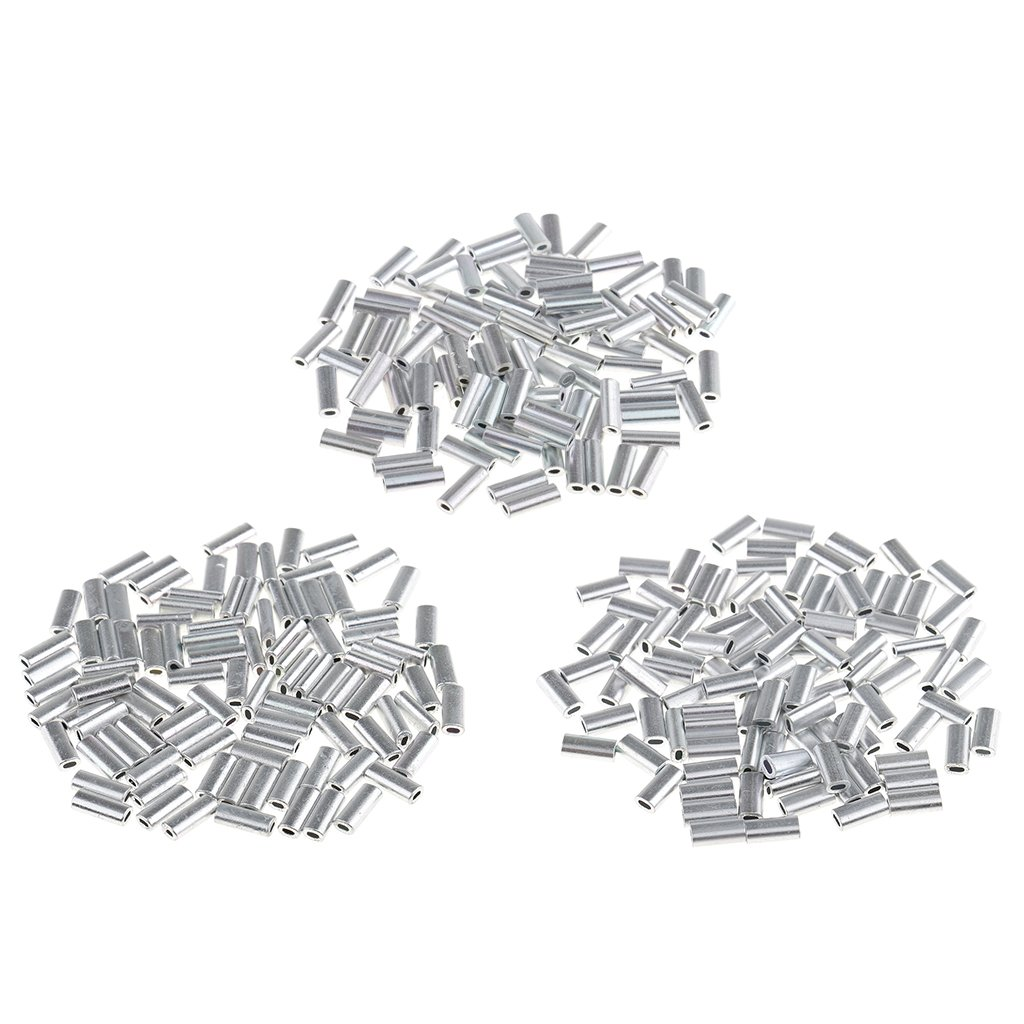CUTICATE 100Pcs//Pack Single Barrel Crimp Sleeves for Fishing Line Cable Wire Aluminum Alloy High Strength Fishing Tackle Kit Crimper