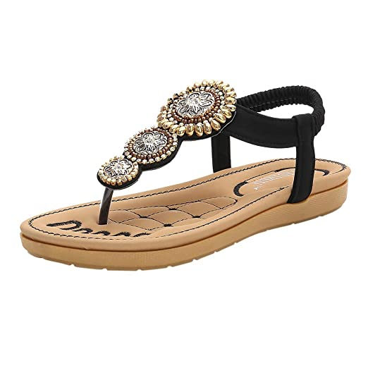 8a1c21aa5f155 MmNote Women Shoes, Women's Retro Comfortable Cushioned Flip-Flops Sandal  Breathable Strappy Cut Out