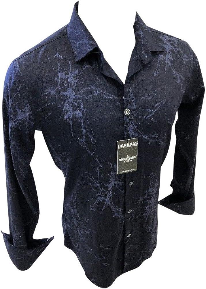 Barabas Men/'s Italian fashion button down Long sleeve Shirt geometric black//red