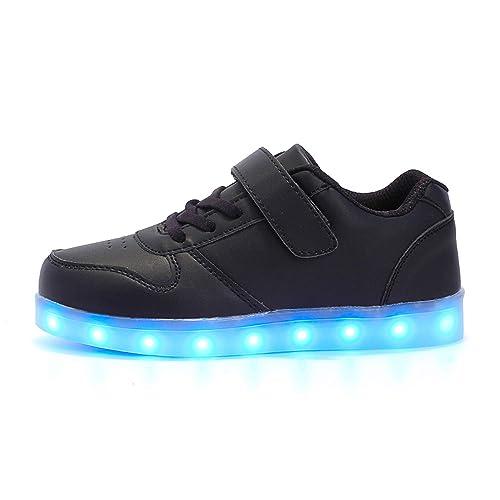 LED Zapatillas de 7 Colores de Luces con USB de Carga Transpirables para los Niños y los Adolescentes Zappatillas Light Up USB Velcro Flashing Zapatillas: ...