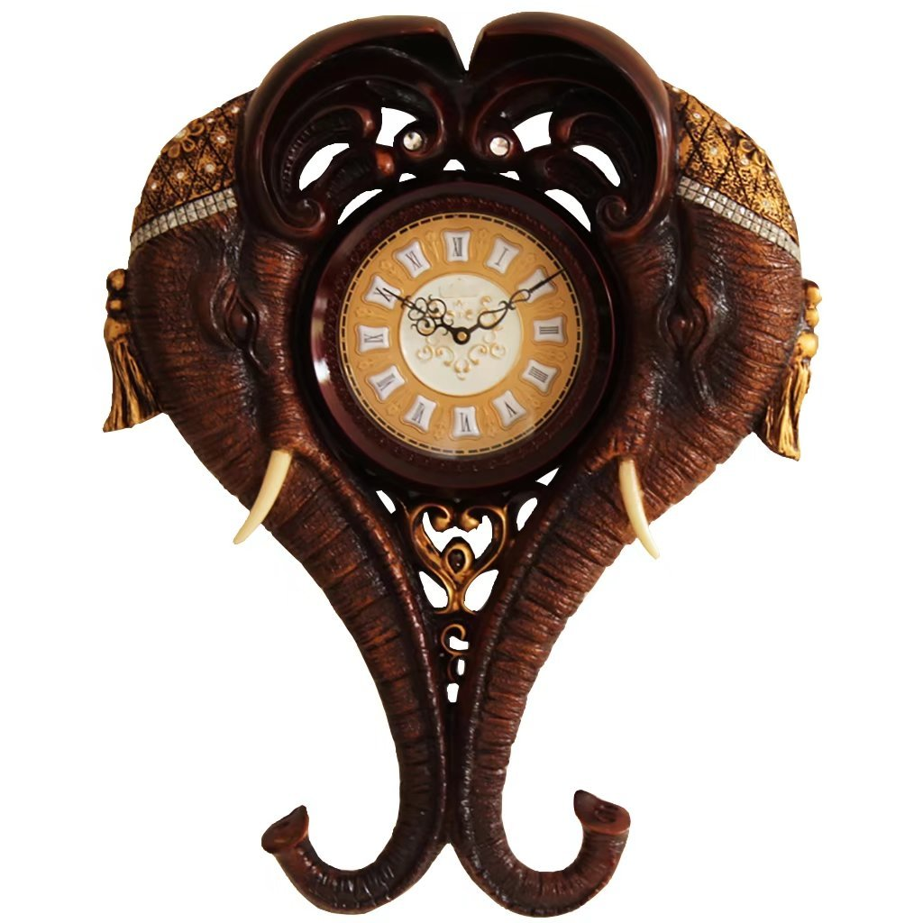Luxurious European Style Retro Elephant Wall Clock Home Living Room Clock Personality Art Hanging Table Silent Bell Clock