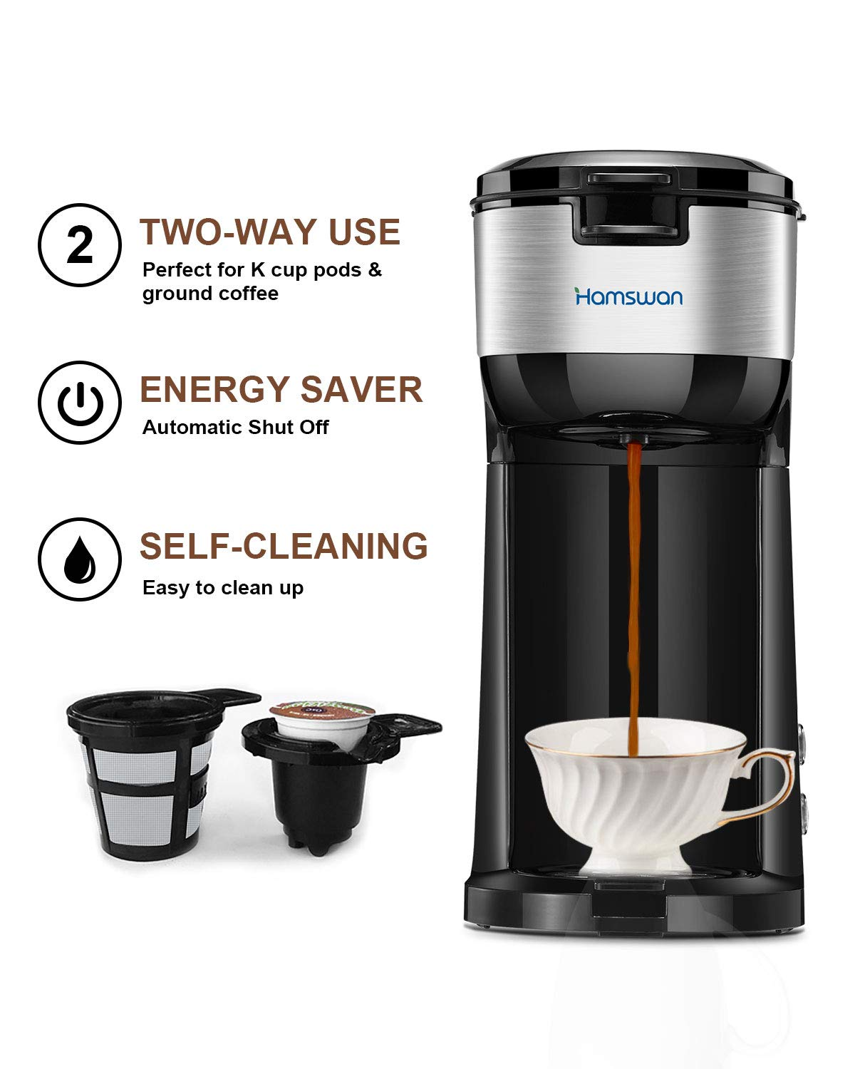 Single Serve K Cup Coffee Maker by Hamswan
