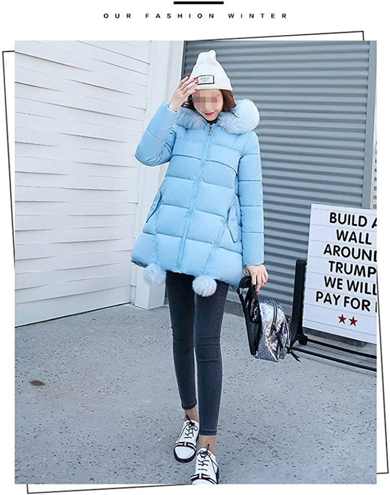 Dotoo Winter Womens Long Thick Warm Fashion Fur Collar Cotton Jacket