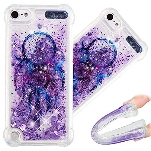 5a48eb2f5e8 LEECOCO Case for iPod Touch 6th Bling Glitter Liquid Sparkle Floating  Crystal Printing Flower TPU Silicone