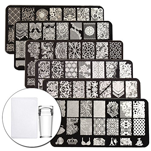 ping Plate Stamper Scraper Set Lace Flower Image 6Pcs Nail Art Template With 1 Stamper 1 Scraper Manicure Plates kit ()
