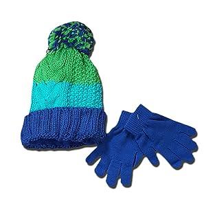 Girls Ivory Knit Pom Hat & Glove Set Child Cap (OSFM)