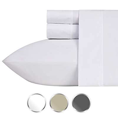 1000-Thread-Count 100% Pure Cotton Bed Sheets on Amazon 4 Pc Queen Size White Sheet Set - Single Ply Long Staple Combed Cotton Yarns, Best Luxury Sateen Weave, Fits Mattress Upto 20'' Deep Pocket: Home & Kitchen