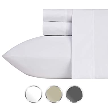 California Design Den 1000-Thread-Count Luxury Sheets King Size - Pure White 4 Piece Cotton Sheet Set, Wrinkle Resistant Comfortable Bedding Made Using Ultra Fine Yarns