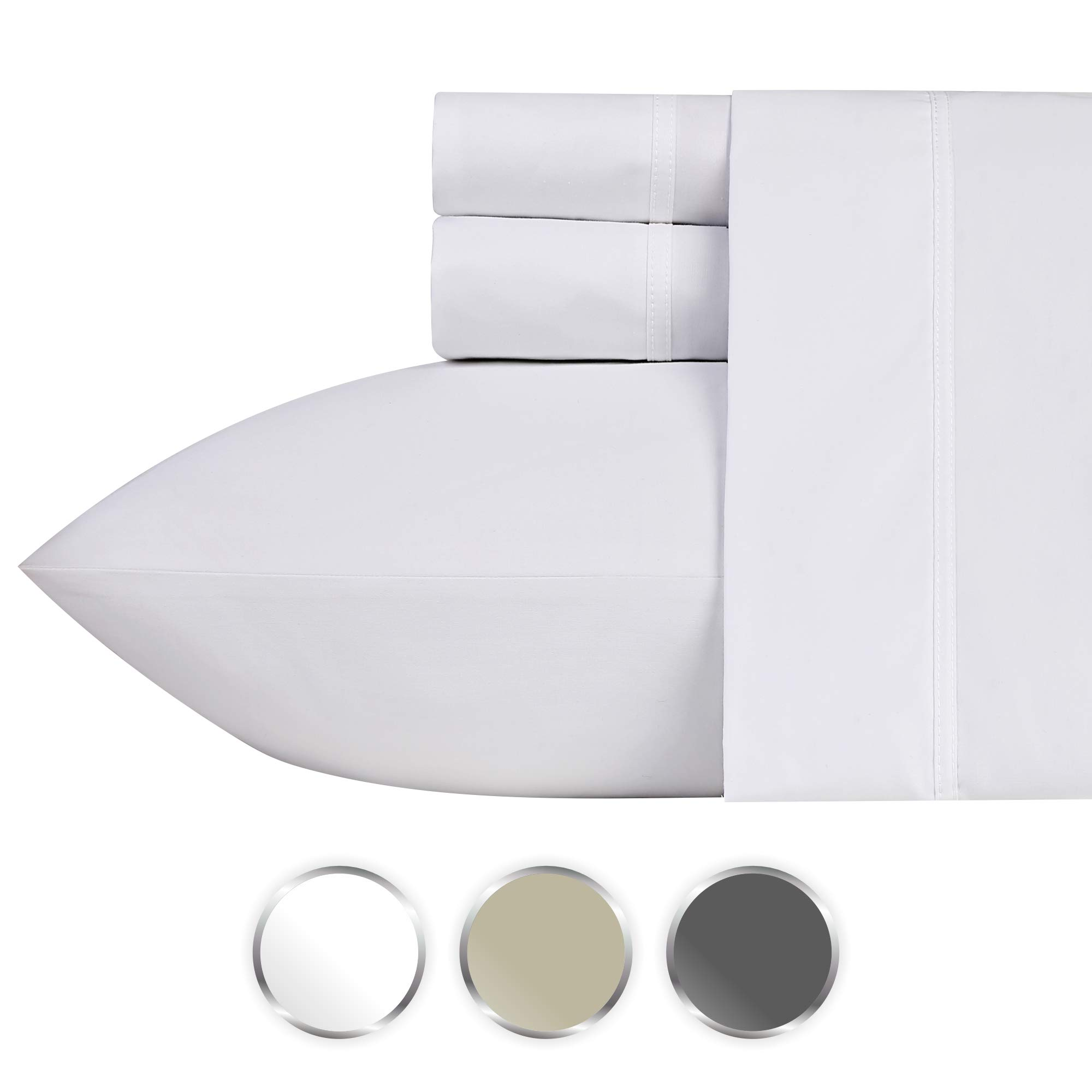 1000 Thread Count 100% Pure Cotton Bed Sheets on Amazon, 4-Pc King Size White Sheet Set, Single Ply Long-Staple Combed Cotton Yarns, Best Luxury Sateen Weave, Fits Mattress Upto 20'' Deep Pocket