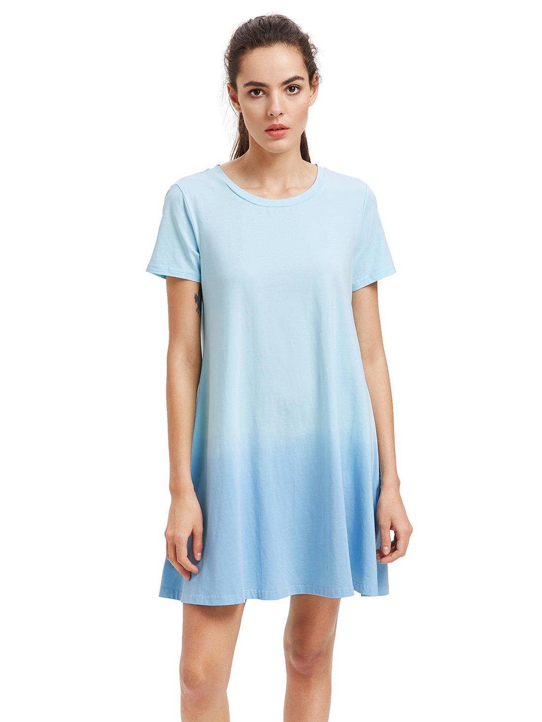 Romwe Women's Tunic Swing T-Shirt Dress Short Sleeve Tie Dye Ombre Dress Blue M