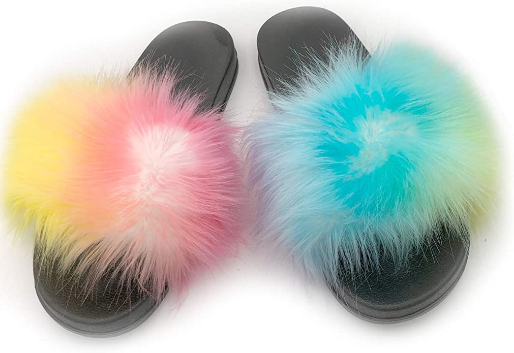 Details about  /FAYUEKEY Faux Fox Fur Slippers for Women Open Toe Comfy Fluffy Sandals Slides In