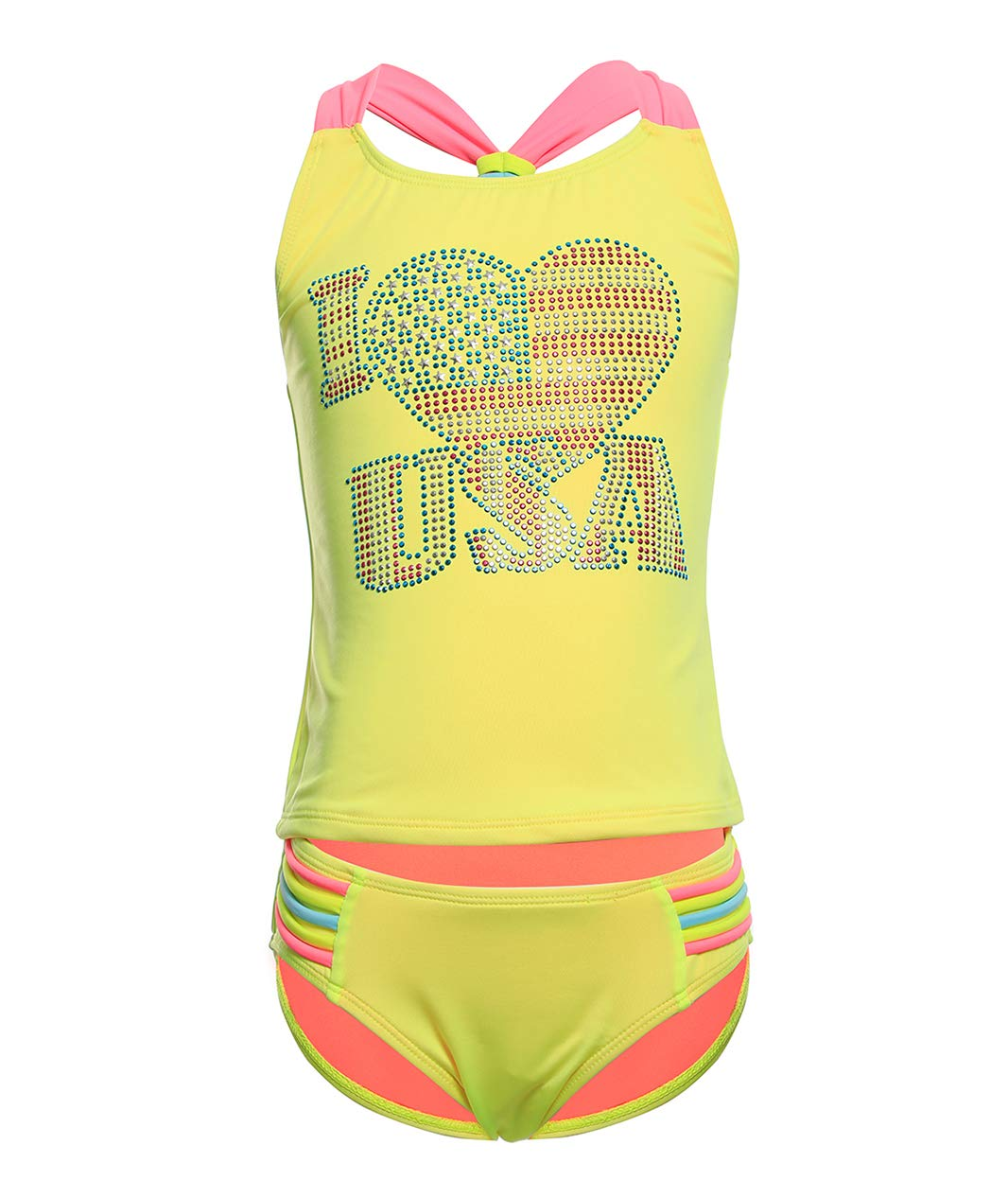 BELLOO Girls Two Pieces Tankini Swimsuit, Cross Back Bathing Suit for Girl Yellow Size 4-5