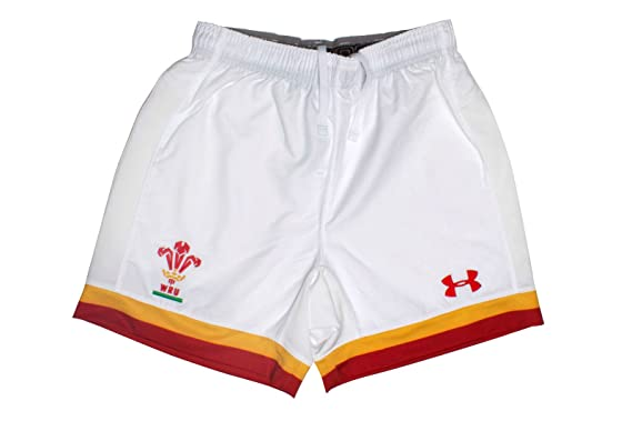61684ec802b Under Armour Wales WRU 2016/17 Home Kids Rugby Shorts - Red/White - Size  LB: Amazon.co.uk: Clothing