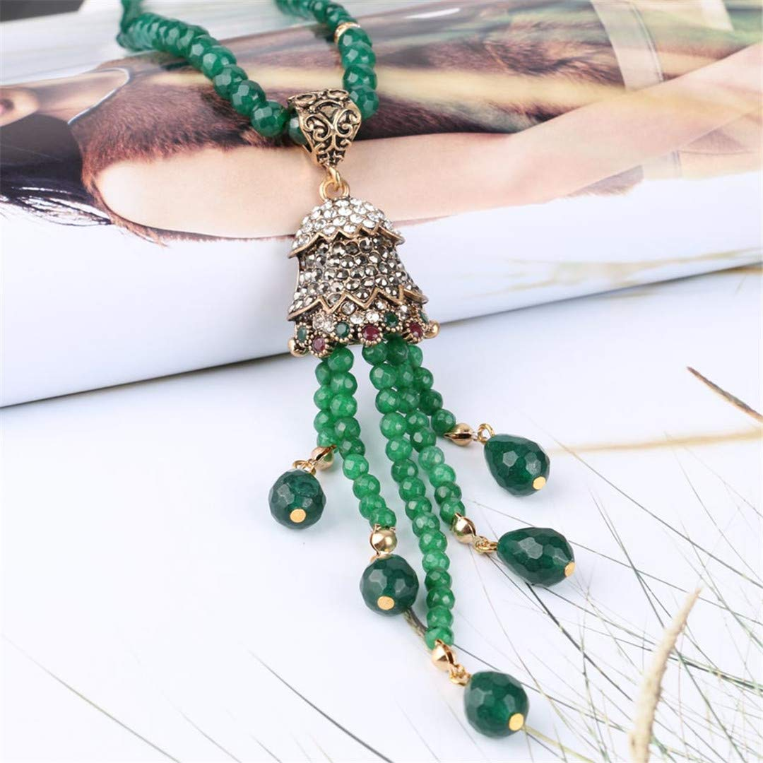 FIANDHJS Luxury Vintage Long Tassel Pendant Necklace for Women Antique Gold Color Turkish Green Crystal Sweater Indian