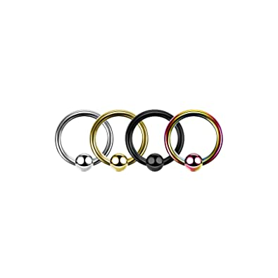 Amazon Com 1 Pc Surgical Steel Captive Hoop Nose Rings Ear
