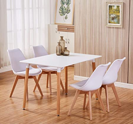 Goldfan Modern Dining Table And Chairs Set 4 Wood Style For Dining