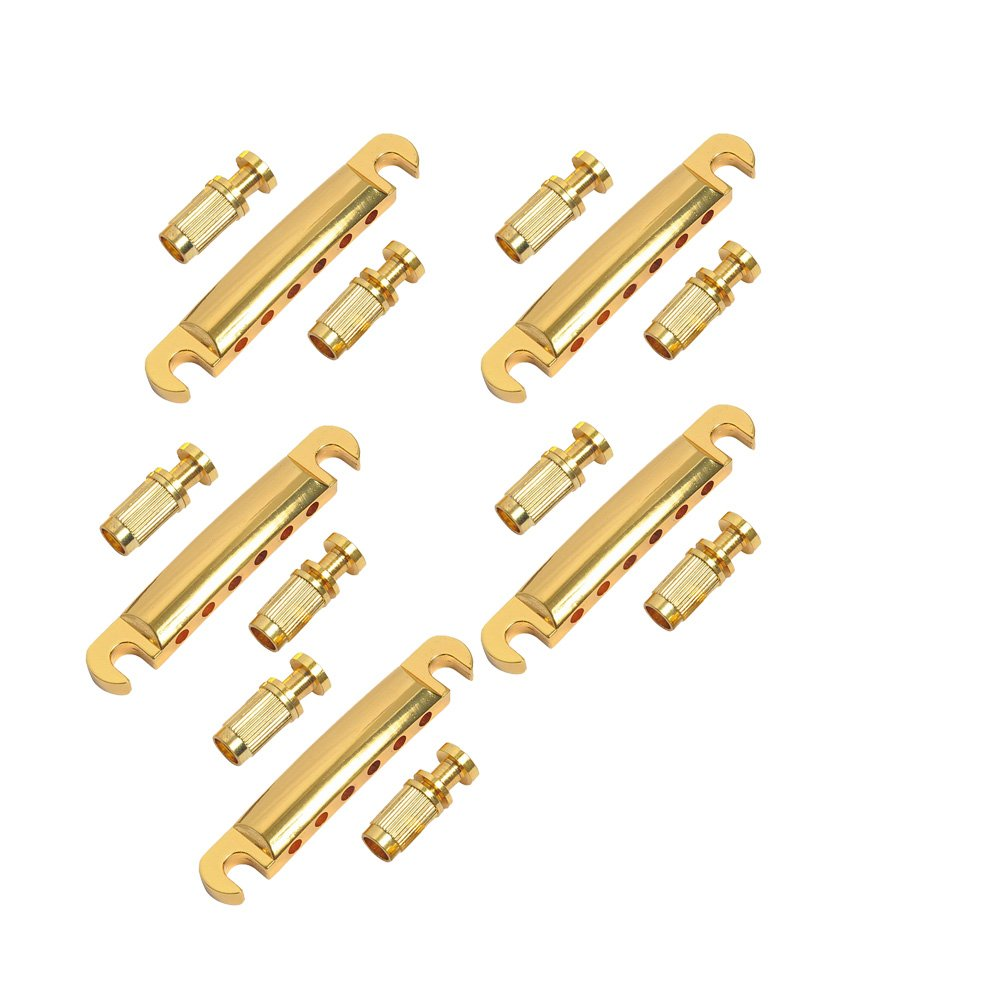 Musiclily ABR-1 Style Tune-o-matic Tailpiece with Stop Bar for Gibson Les Paul Gear Guitar Replacement, Gold(Pack of 5)